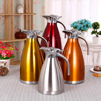 4 Color 1L 1.5L 2L Coffee Thermos Mug Stainless Steel Teapot Vacuum Flasks  Cups  Hot Water Bottle