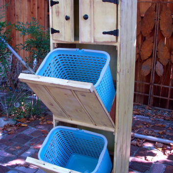 Wood Furniture - Wooden - Laundry Hamper - Trash Bin Recycling - Eco Chic - Storage Solution