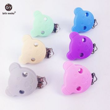 Let's make Teddy Bear Shape Pacifier Clip/Pacifier Chain Clip 10pcs Can Chew Baby Nursing Accessories Silicone Baby Teether