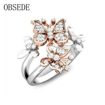 ac spbest OBSEDE Fashion Elegant Butterfly Ring Women Crystal Cubic Zirconia Finger Ring for Female Silver Jewelry Anniversary Wedding
