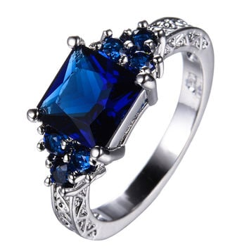 Princess Cut Blue Stone CZ Diamond Rings for Women Wedding Band Vintage Fashion White Gold Filled Zircon Crystal Ring RW1403
