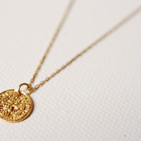 Gold Greek Coin Circle Necklace,18k gold coin, Minimalist Coin Necklace, Gold Coin Pendant,gold disc necklace,textured disc necklace