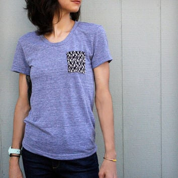 Grey T-Shirt with Ikat Pocket