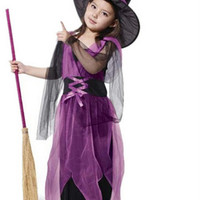 WItch Dress Costume Kids Halloween Costumes Children Suit Gauze Kids Witch Clothes Children Dress Clothings