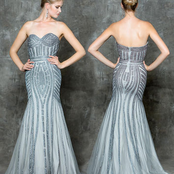 GLOW G696 Sparkling Mesh Mermaid Prom Evening Dress