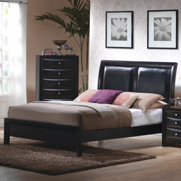 Briana Low Profile Footboard Bed with Upholstered Panel Headboard
