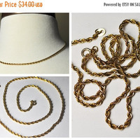 ON SALE Vintage Sterling Silver Gold Vermeil Twisted Rope Chain, Older, 18 Inch, Spring Ring Clasp, Bright & Sparkly! #A846