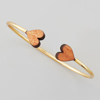 Natures Heart Cuff, Yellow Gold