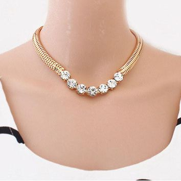 Jewelry Gold Thick Chain Street Snap Lady Shiny Rhinestones Necklace