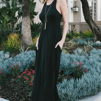 Solid Black Tank Maxi Dress