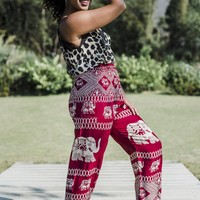Red and White Elephant Pants // Elephant Pants // Red Boho Pants // Boho Pants Red // Elephant Pants Red // Comfortable Pants