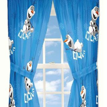 Frozen Window Curtains Fun with Olaf Drapes and Tie-Backs