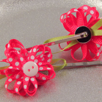 Wedding or Easter pink floral bobby pins with button centers - Flower Girl Hair Pins -Handmade Springtime Hair Accessories; first day school