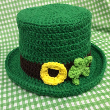 St. Patrick's Day baby photo prop hat,green, leprechaun hat,top hat,hand crochet, Irish hat , handmade, gift idea, shower gift, photography