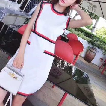 Pattern Letter Print Multicolor Solid Color Sleeveless Bodycon Simple Middle Dress