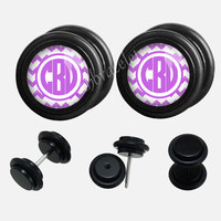 Pink  Circle monogram  Plugs,fake Gauges,UV Acrylic  plugs,plugs gauges