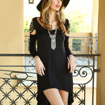 Black Fashion Fringed Sleeve Irregular Midi Dress Long in Back Short in Front