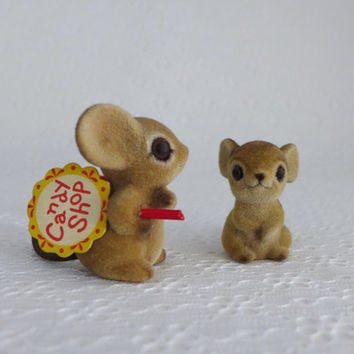 Josef Originals Mice, Two Flocked Mice, Candy Shop Sign, Mouse Figurine, Brown Fuzzy Mice, Small Mouse Figures