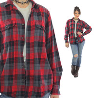 Red Flannel shirt 90s plaid Grunge Red Black Lumberjack Long sleeve Button up Checkered Small
