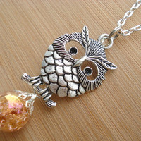Retro Owl Copper Crackle Glass Large Necklace