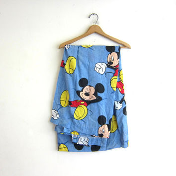 Vintage Disney Mickey Mouse blue twin flat sheet  // Fabric