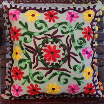 Suzani Embroidery Cushion, Outdoor Pillow, Room Decor, Pom Pom Cushions, Lace Cushion Cover, Traditional Indian Pillow Case