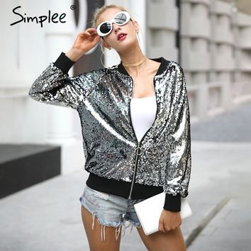 Silver sequin zipper jacket coat winter long sleeve black bomber jacket outerwear Casual street wear basic jacket
