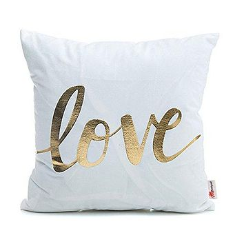 Love Gold Letter Pillows Decorative Throw Pillows Cover for Couch Bed Sofa 18 x 18 inches