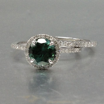 2 Tourmaline Bridal ring set!Engagement ring White gold,Diamond wedding band,14k,Round Cut,Green Gemstone Promise Bridal Ring,Claw Prongs