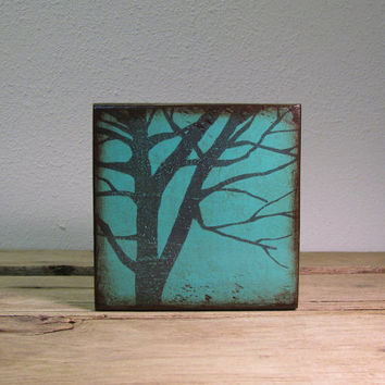 Turquoise Tree Silhouette Wood Art Block Painting---MatchBlox-1726