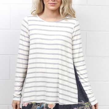Stripe My Florals Contrast Tunic w/ Pockets {H. Grey Mix}