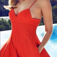 Casual Red Spaghetti Strap Criss Cross Back Mini Dress