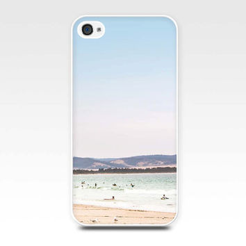 iphone case beach scene iphone 4 4s 5 beach nautical retro photography ocean photo art cover cell phone pastel teal lilac summer vintage sky