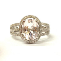 Morganite Engagement Ring 14K White Gold!Diamond Wedding Bridal Rings,7x9mm Oval Cut Pink Morganite,3.2mm Band Width,Split Shank,Halo Style