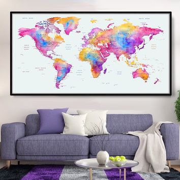 Watercolor Unique World Map, Pint World Map, World Attractions, World Map Poster, Abstract World Map, Exclusive World Map, Map Art - L90