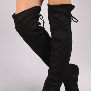 Suede Back Lace-Up Over-The-Knee Flat Boots