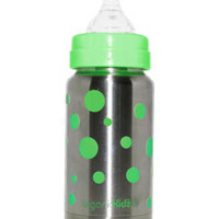 organicKidz Stainless Steel Baby Bottle, 7 oz, Wide Mouth (Green Dots)