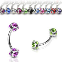 Gemmed Eyebrow Rook Daith Ring Body Jewelry Piercing Jewelry Surgical Steel