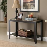 Cappuccino / Marble-Look Top Sofa Console Table