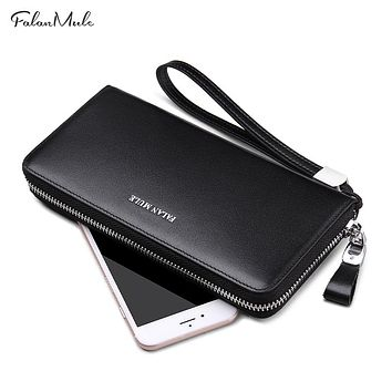 Fashion Wallet Men Genuine Leather Wallet Quality Purse Long Coin Purse Luxury Men Purse For IPhone 7 S