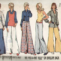 Simplicity 5589 Sewing Pattern Retro Boho Hippie Style 70s Bell Bottom Hip Hugger Pants Wide Leg Button Front Blouse Shirt Jacket Bust 32