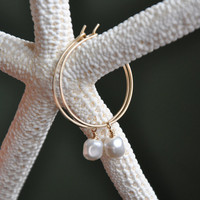 "Small Pearl Hoops, 1"" Hoop Earrings, 14K Gold Fill, Minimalist, Interchangeable Wire Jewelry"