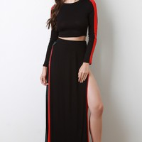 Stripe Accent Crop Top and Slit Maxi Skirt Set