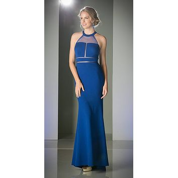 Illusion Long Prom Evening Dress Royal Blue Panel Front Halter