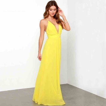 Yellow Criss-Cross Chiffon Maxi Dress