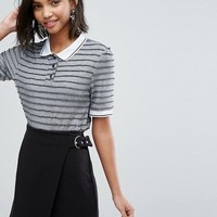 Sister Jane Polo Top In Metallic Rib at asos.com