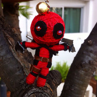 Ninja Deadpool supernatural String Voodoo Doll handmade Keyring Keychain film cartoon Key Ring Key Chain handmade funny Bag small gift
