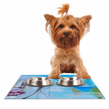 "Kira Crees ""Alice"" Blue Multicolor People Painting Dog Place Mat"