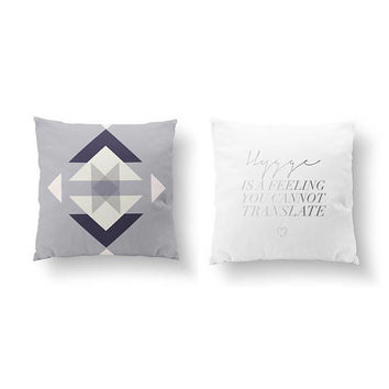 SET of 2 Pillows, Aztec Violet Pattern, Hygge Is A Feeling, Throw Pillow, Cushion Cover, Bed Pillow, Ethnic Decor, Gold Pillow, Boho Art