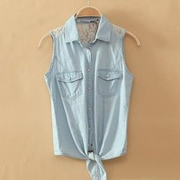 Light Blue Denim Button-Up Shirt With Lace
